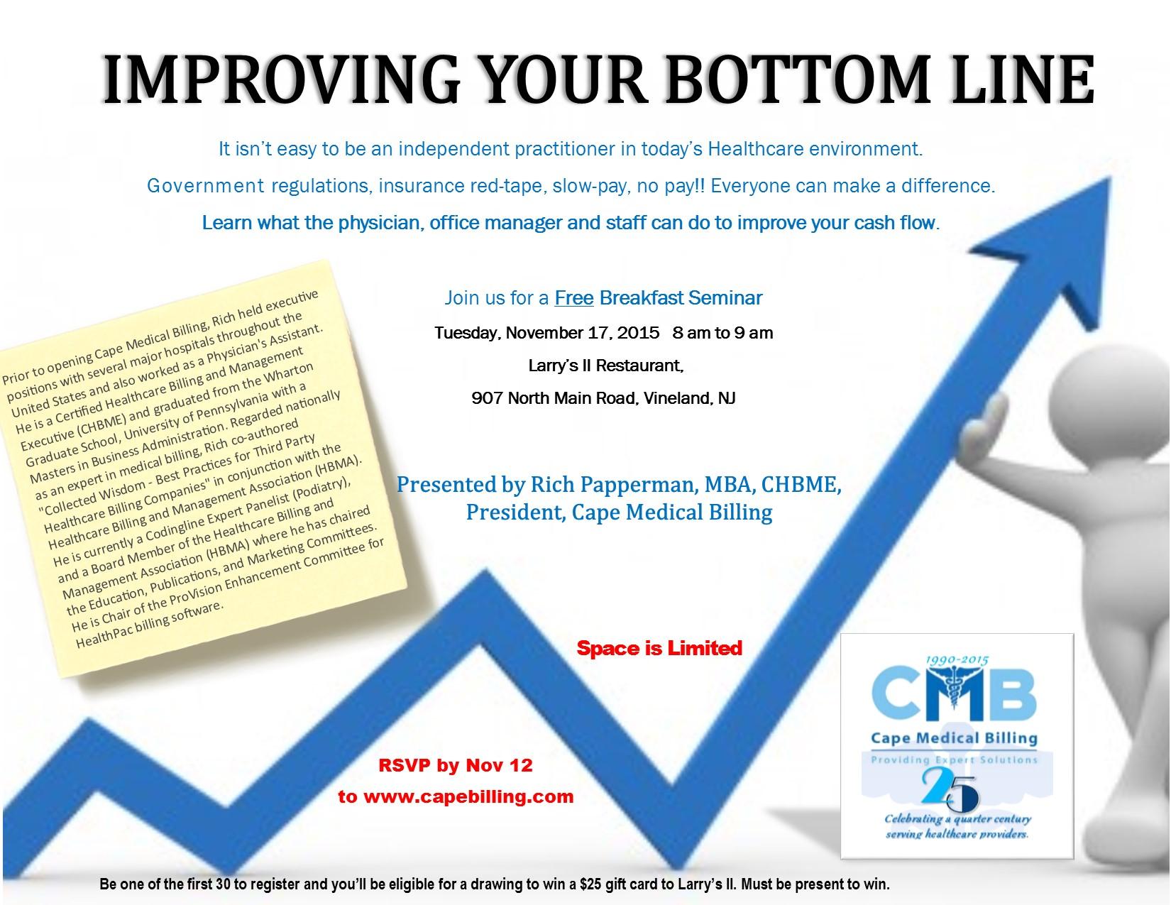 November Seminar Postponed. CMB hosts Improve Your Bottom Line ...